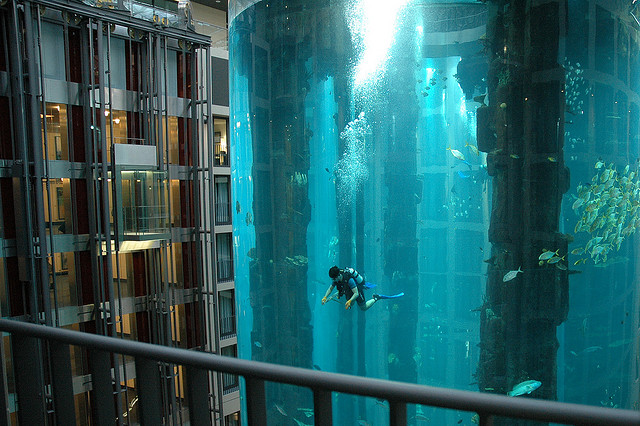 ベルリン、巨大水槽とホテルのクールな関係
