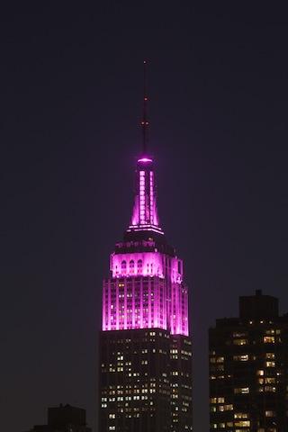 ピンクのエンパイアステート・ビルを眺める、ロマンティックなバレンタイン