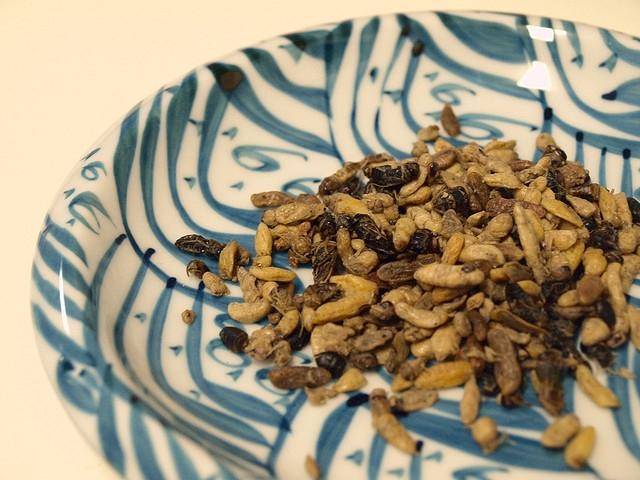 長野県の昆虫食と言えば、イナゴ。佃煮にして食べます。一部のスーパーやお土産屋さんでも購入できます。足が歯にひっかかりやすいのですが、一番食べやすい虫だと言え
