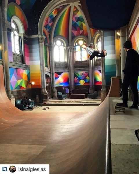 築100年の廃教会を、アーティスティックなスケートパークに!