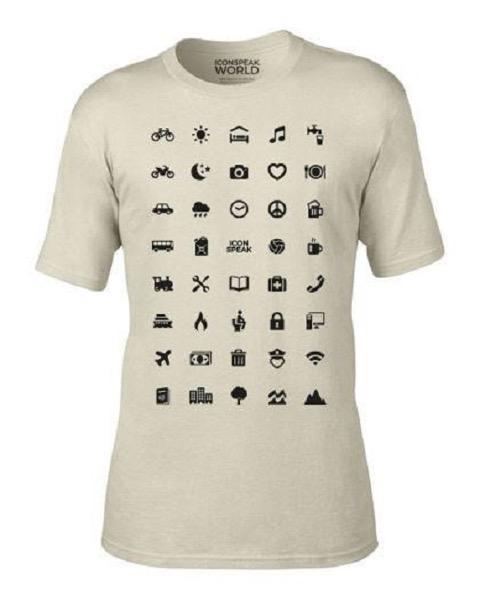 バックパッカー必需品?言葉が通じなくても、アイコンで会話できるTシャツ