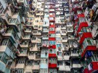 アーティスティックな香港の街並み。超人口過密都市の超高層マンション