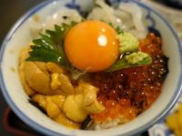 イカ・イクラ・ウニがのった海鮮三色丼。大三島「よし川」一押しのどんぶり