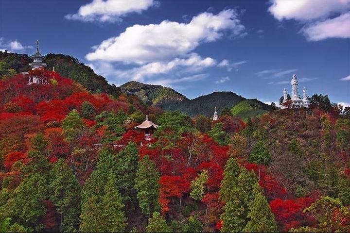 紅葉の中に救世大観音が白く浮かぶパワースポット「なぐり紅葉まつり」