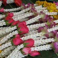 花とともに祈りを捧げる、タイの人々の信仰心