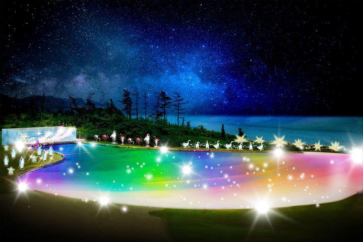 光できらめくイルミネーションプールが幻想的!【芝政ワールド】