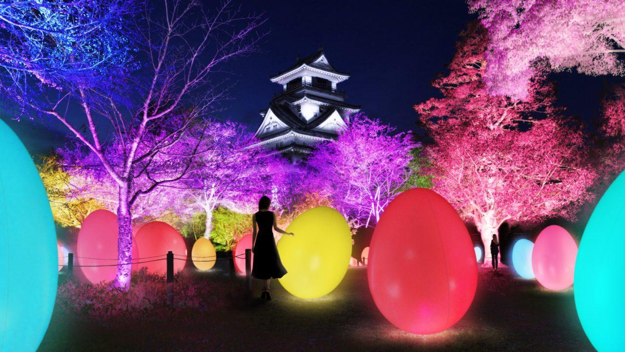 チームラボが日本三大夜城の「高知城」をインタラクティブな光のアート空間に!