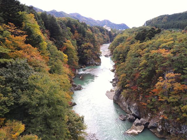 鬼怒楯岩大吊橋(きぬたていわおおつりばし)鬼怒川下流方面の景色