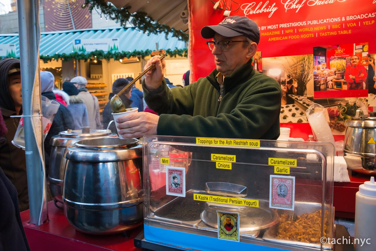 ニューヨーク ユニオンスクエア ホリデーマーケット ペルシア風スープ