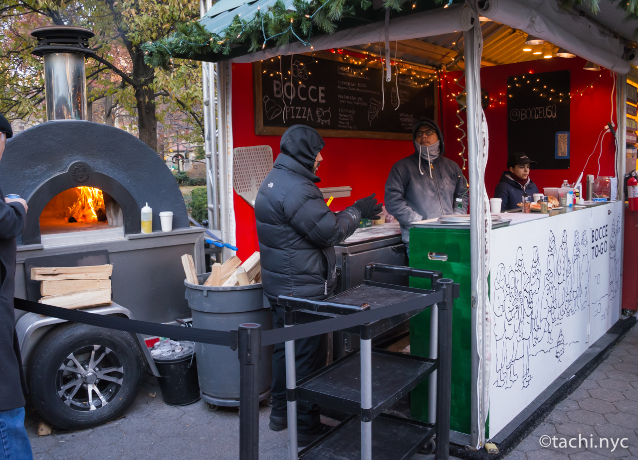 ニューヨーク ユニオンスクエア ホリデーマーケット 窯焼きピッツア