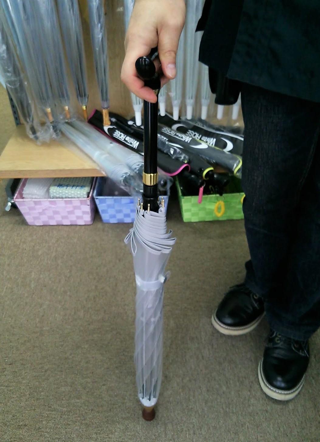ホワイトローズ 杖になる傘(信のすけ)
