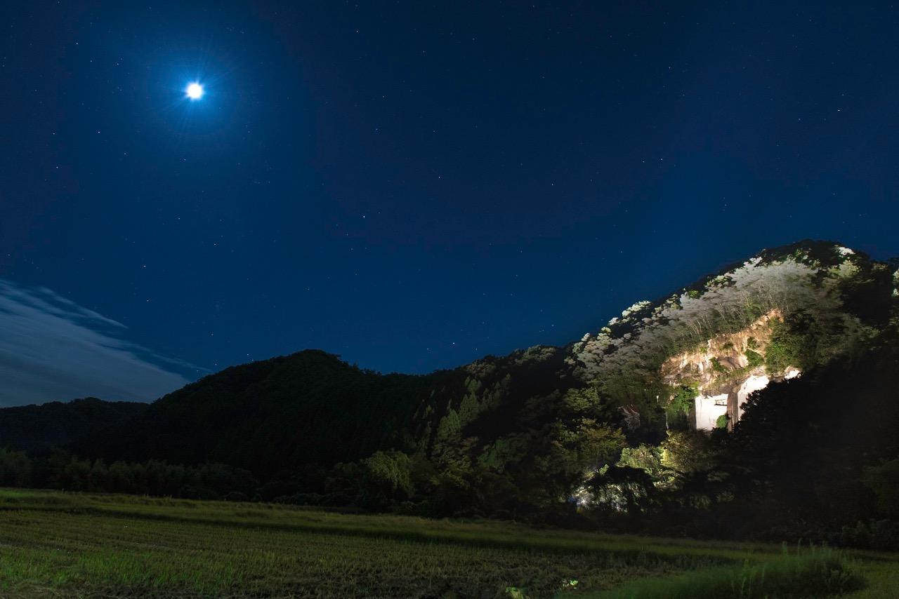 「滝ヶ原石切り場」のライトアップ