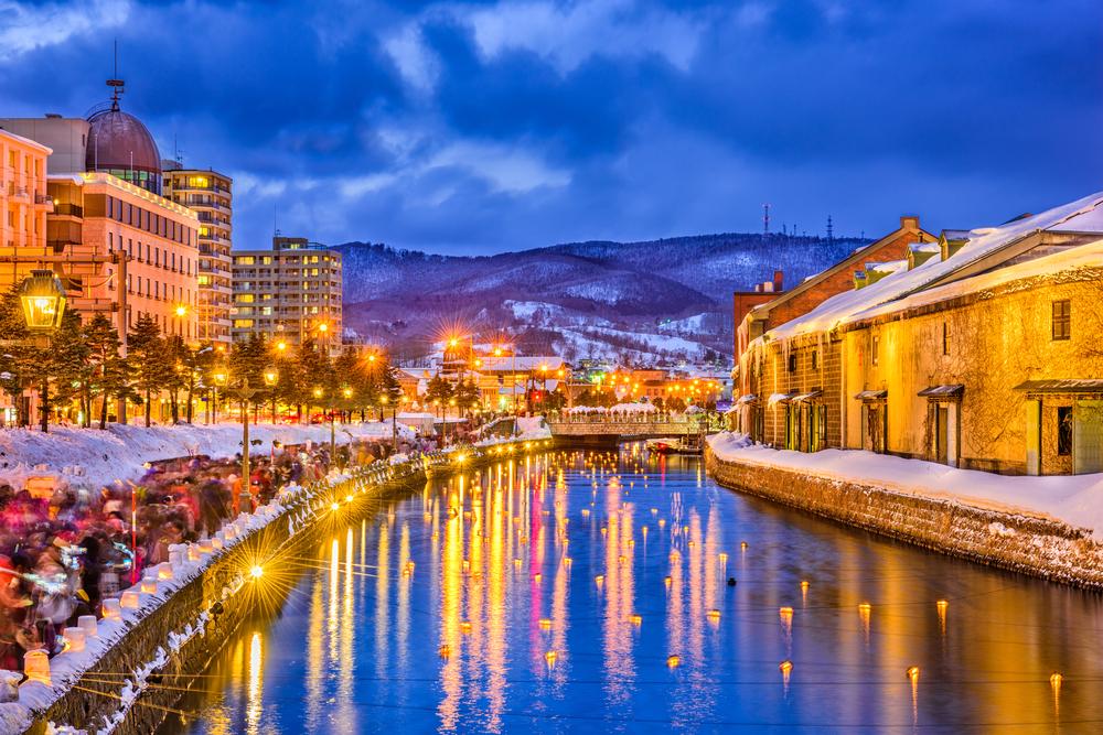 北海道小樽運河 雪あかりの路