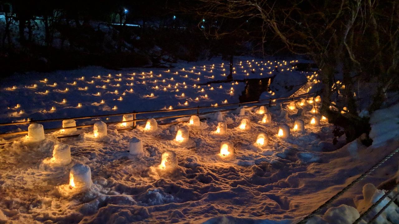 湯西川温泉かまくら祭り 土手から