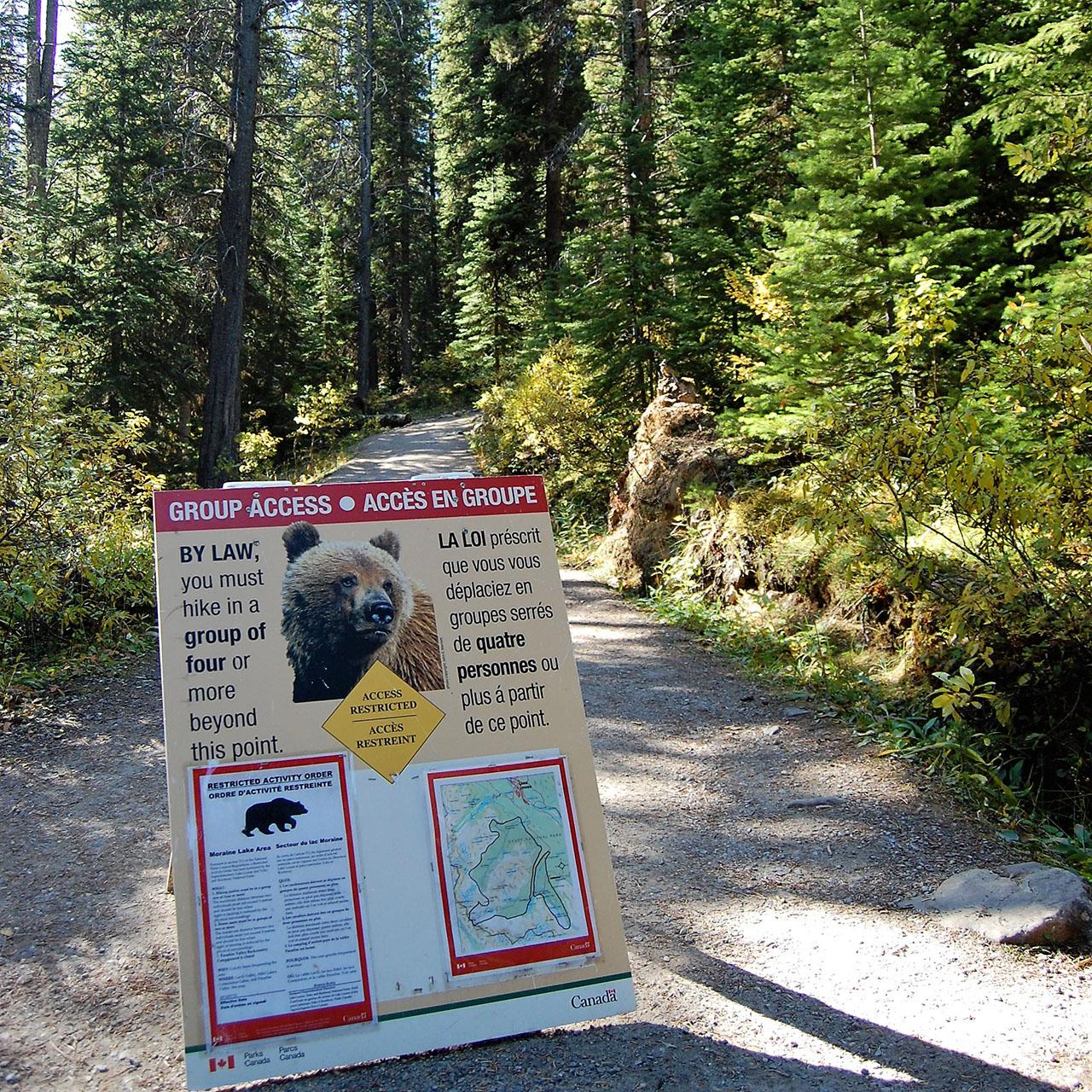 カナディアン・ロッキー野生動物クマ注意看板
