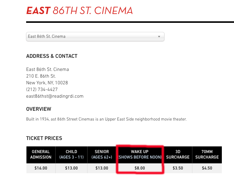 NYC Cinema 86 info