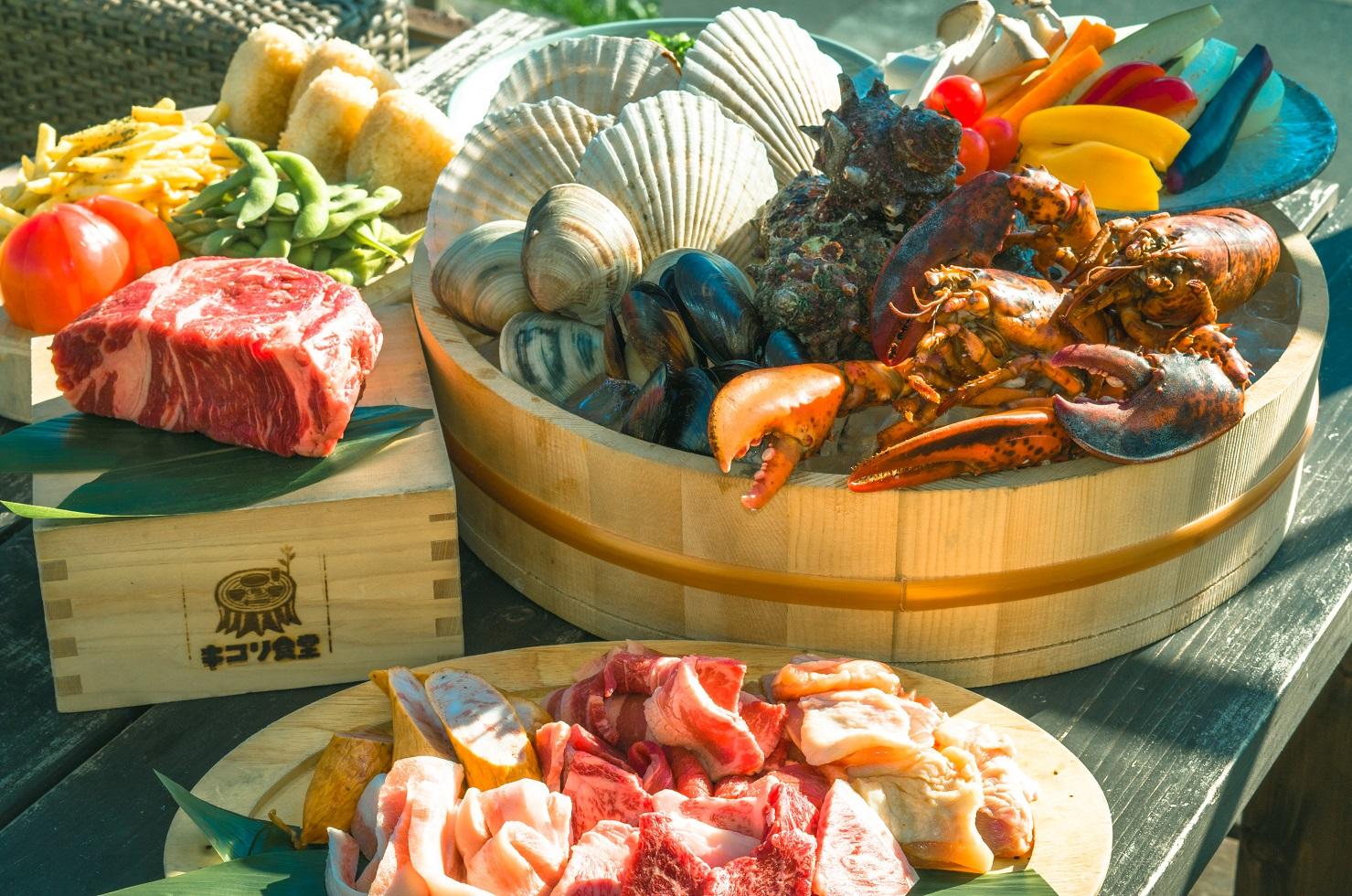 「3時間たっぷり!塊肉と豪快漁師盛りBBQコース」2