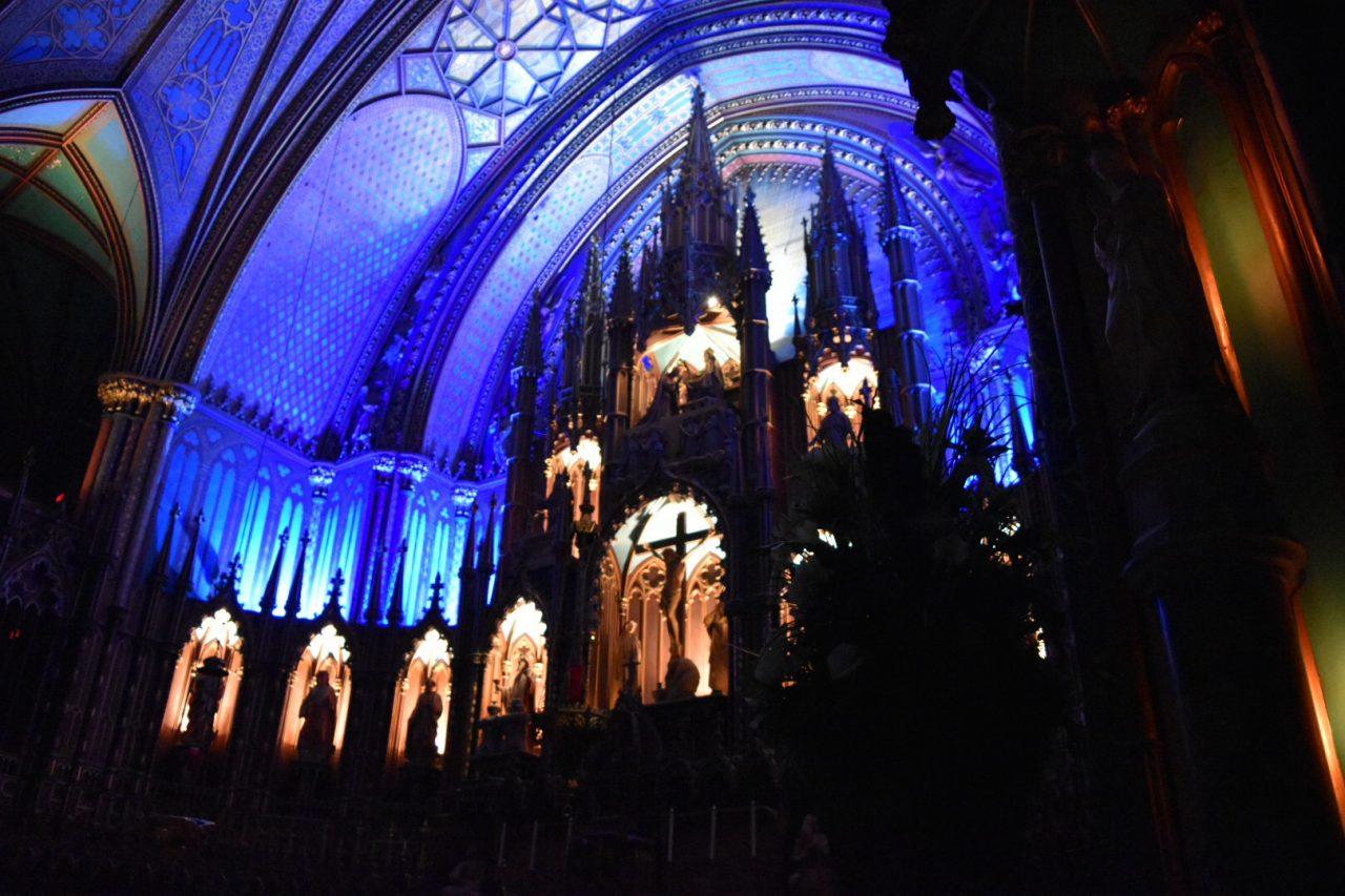 普段の祭壇。この教会内にプロジェクションマッピングが投影される。