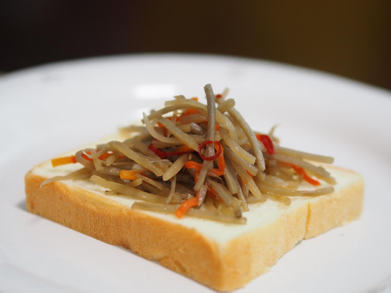 和風トッピングした銀座に志かわの食パン