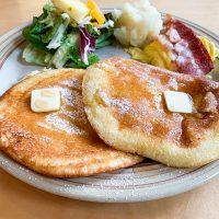 トリプルチーズパンケーキには3種類のチーズが練りこんである
