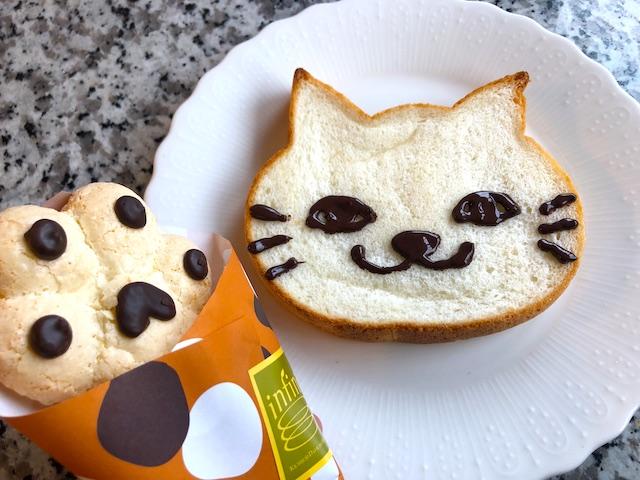 「いろねこ食パン 白」チョコペンでネコの顔を描く