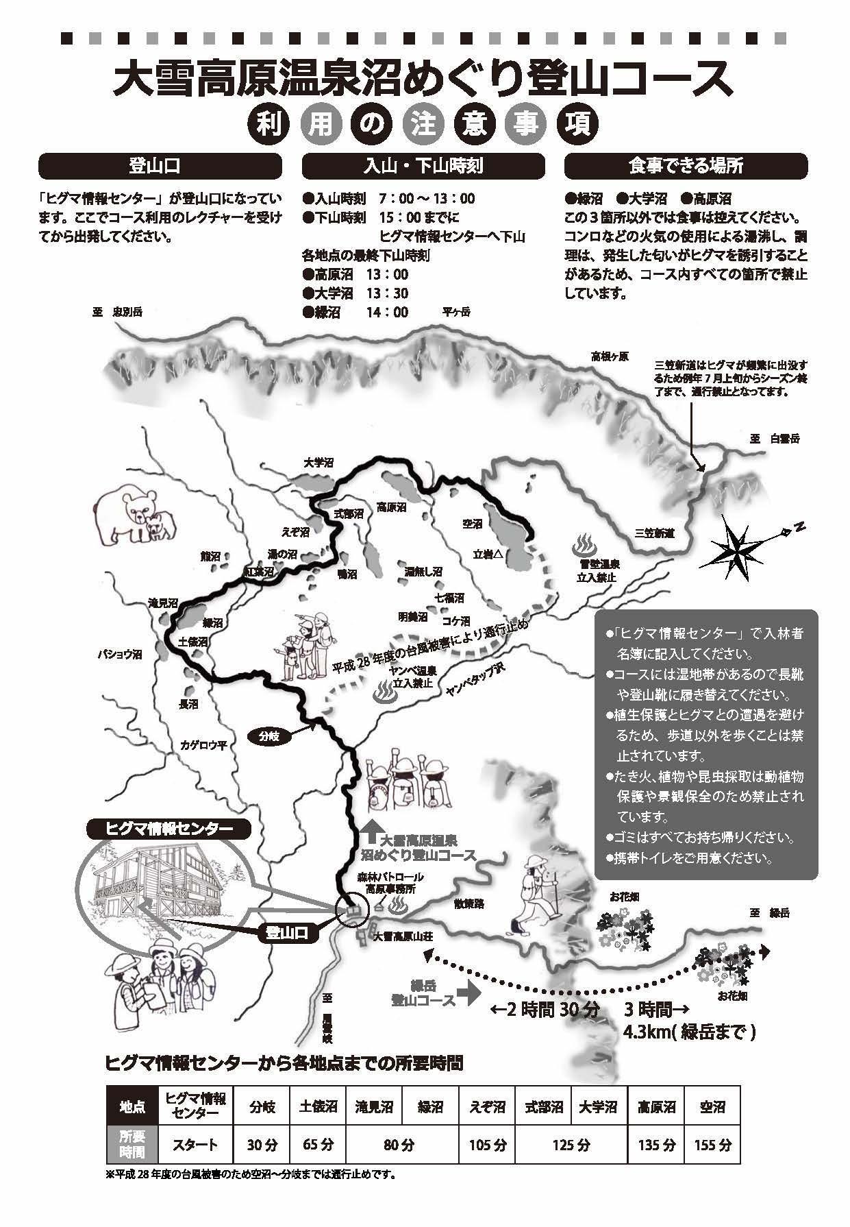 大雪高原温泉沼めぐり登山コース チラシ