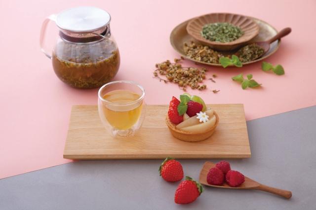 ペパーミントブレンド茎茶&旬のフルーツタルト