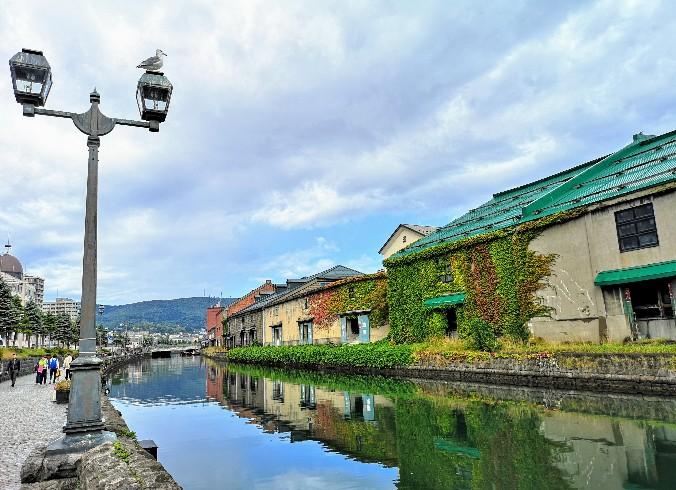 小樽運河のガス灯の海鳥