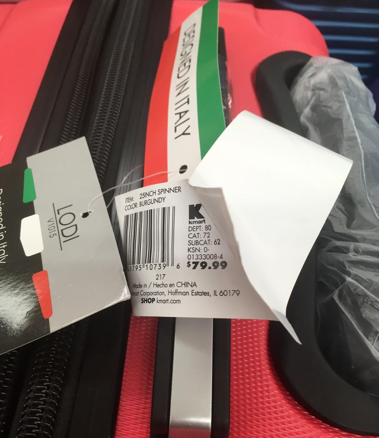 スーツケース 値札