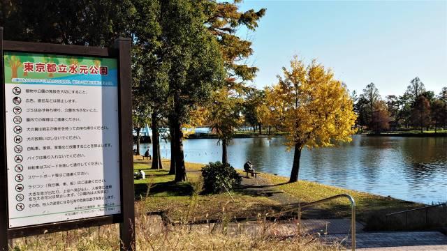 公園看板と池