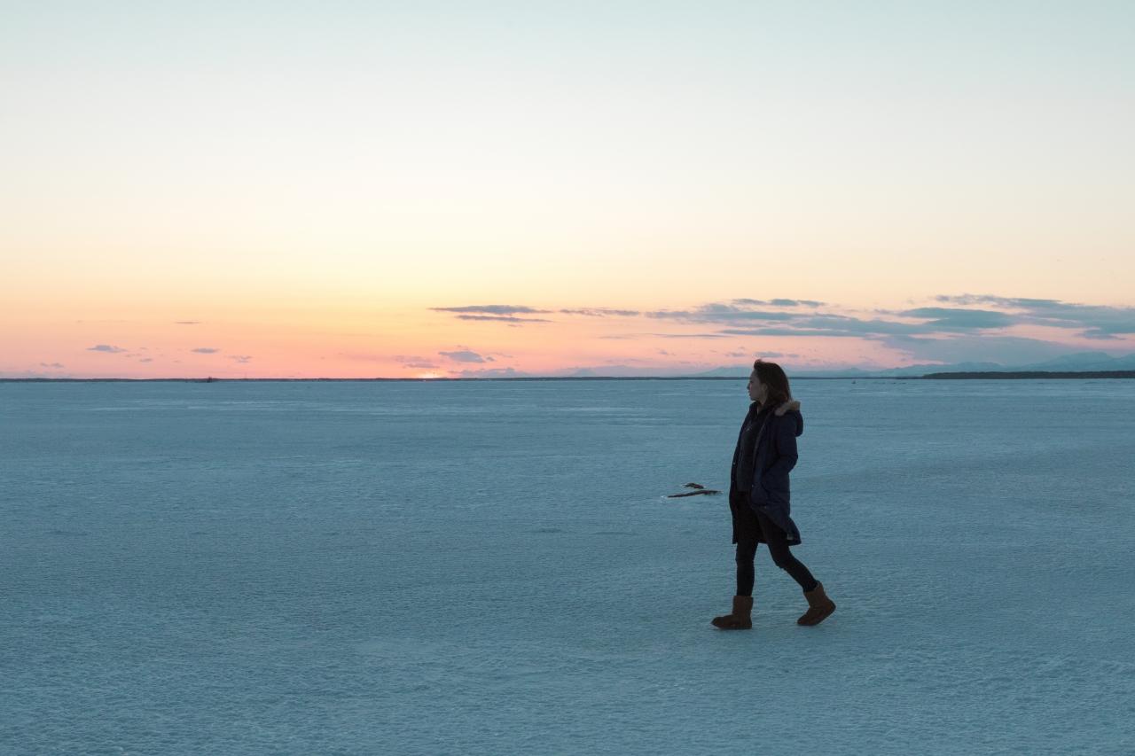 べつかい氷平線 夕日 北海道