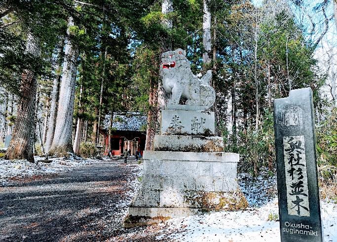 戸隠神社杉並木狛犬