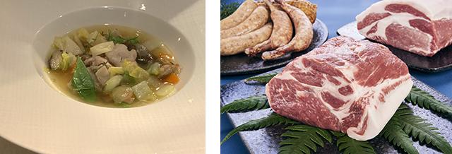霧島ガストロノミー推進協議会「ゲンセン霧島食材フェア」黒豚のバラと色々なお野菜のキュルティバトゥール(野菜スープ)
