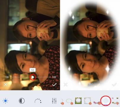専用アプリでも簡単な写真編集は可能。