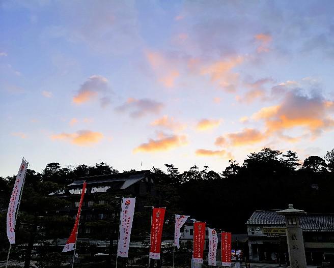 嚴島神社 朝のフェリー乗り場