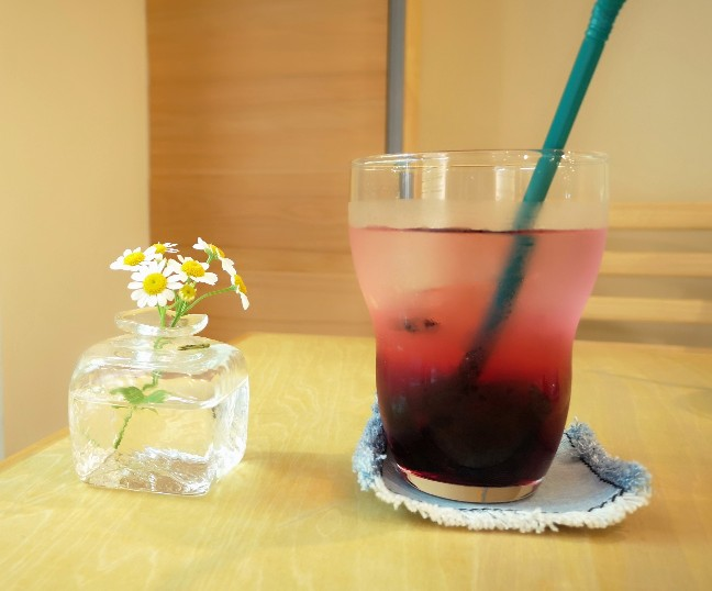 奈良オモテナシ食堂 ブルーベリー水割りお酢ドリンク