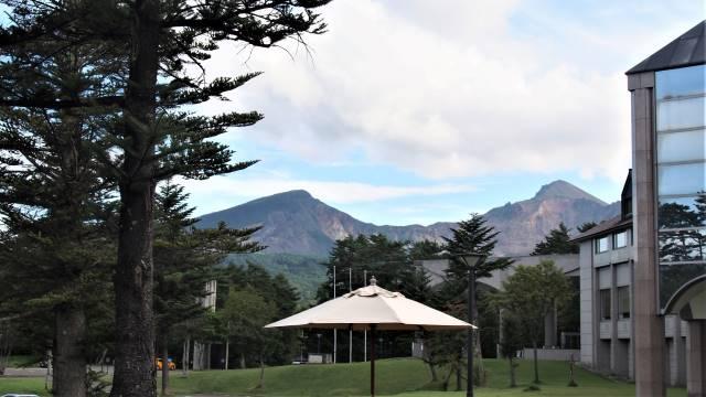 ホテルから見える磐梯山