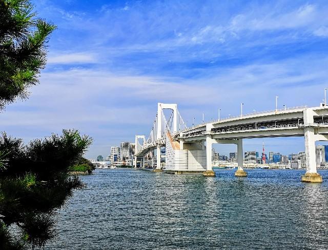 東京都お台場・「台場公園」から見えるレインボーブリッジ