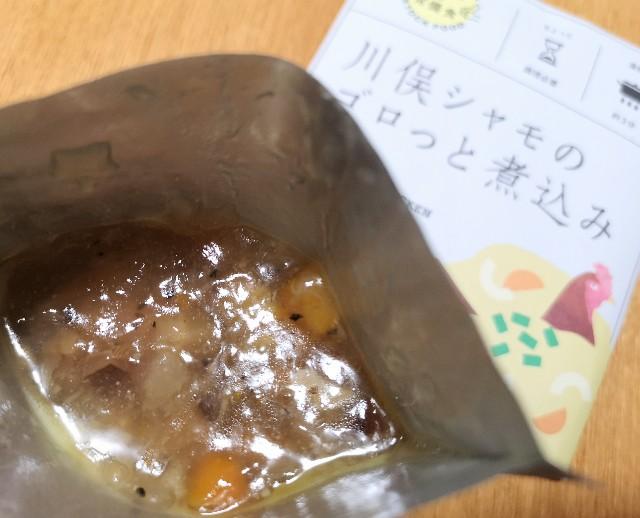 福島県・ふくしまみらいチャレンジプロジェクト「ふくしまの常備食」川俣シャモのゴロっと煮込み(開封後)