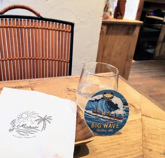 熊本県・熊本市ハワイアンカフェ「Aolani Parlor」お冷とコースター