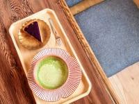奈良県奈良市・カフェ「onwa」抹茶チーノ、紫芋タルト2