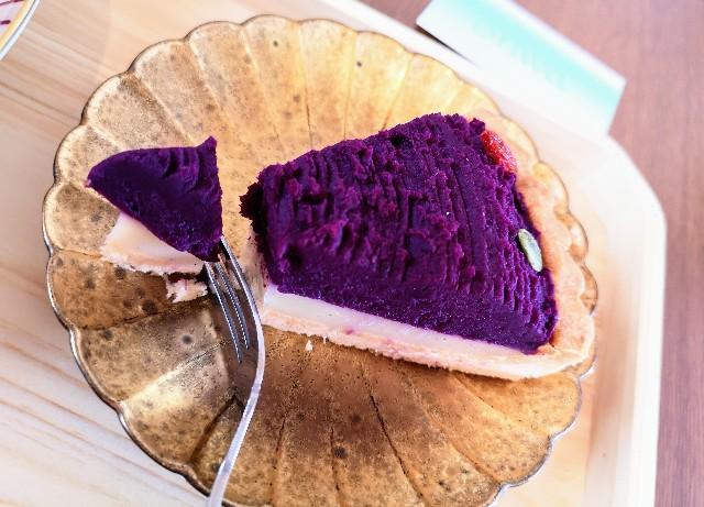 奈良県奈良市・カフェ「onwa」紫芋のタルト