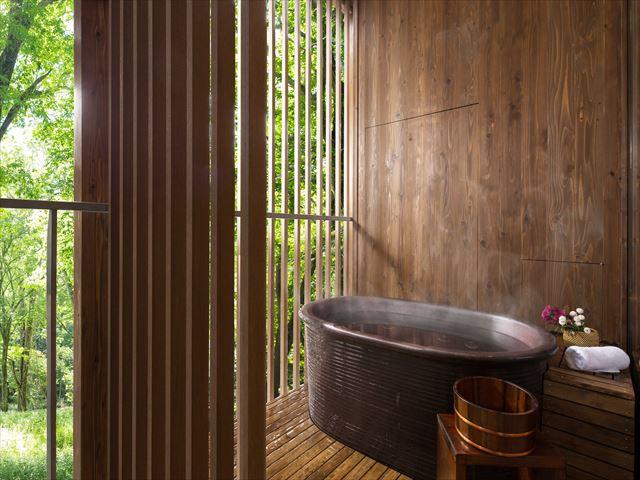 界 鬼怒川の客室露天風呂