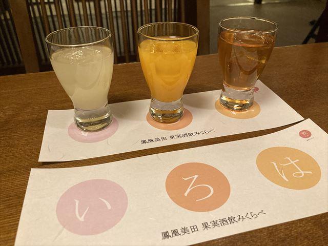 界 日光 果実酒の飲み比べ