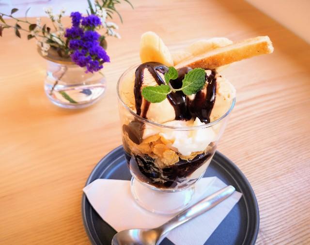 「京終駅舎カフェ ハテノミドリ」コーヒーゼリーパフェ