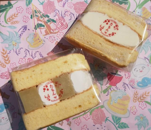 石川県・パンケーキカフェ「Cafe たもん」パンケーキサンド(生クリームとカスタード・五郎島金時)