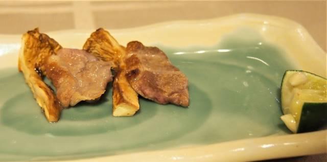合鴨マツタケはさみ焼