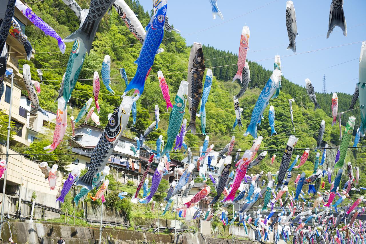 熊本県杖立温泉 鯉のぼり祭り