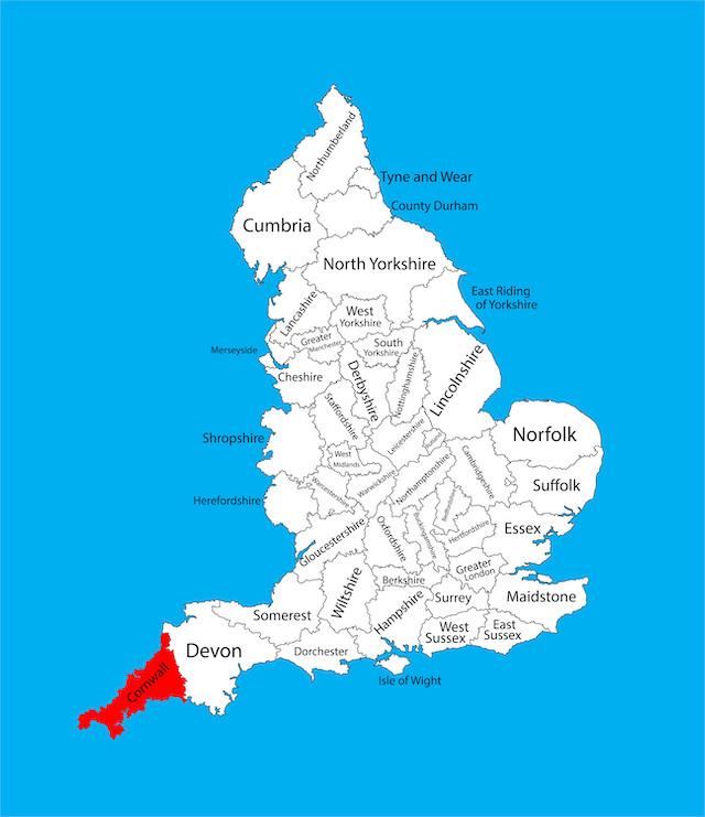 コーンウォールの地図
