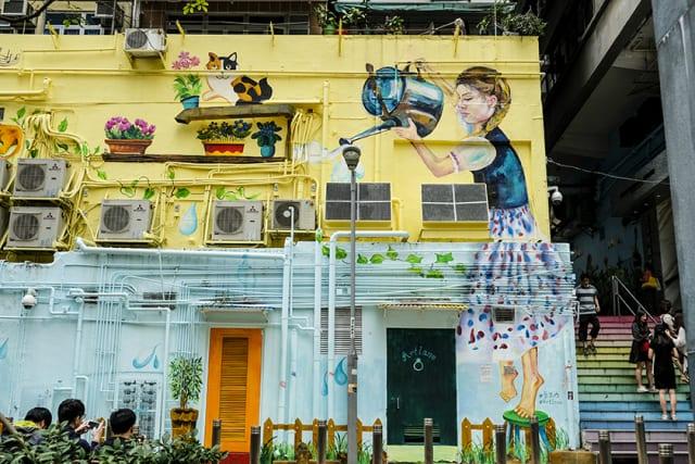 A mural at ArtLane in Sai Ying Pun